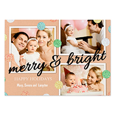 Glitter Dots Personalized Photo Black Merry & Bright Card 5X7