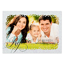 Black Rejoice Silver Glitter Personalized Photo Christmas Card 5X7