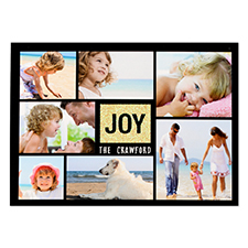 Joy Gold Glitter Personalized Photo Christmas Card 5X7