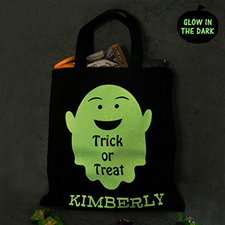 Fat Ghost Personalized Glow In The Dark Halloween Tote Treat Bag Black