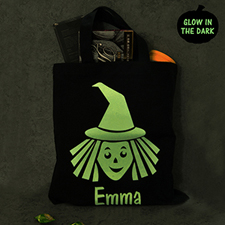 Witch Personalized Glow In The Dark Halloween Tote Treat Bag Black