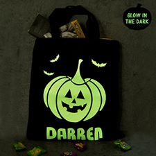 Pumpkin Personalized Glow In The Dark Halloween Tote Treat Bag Black