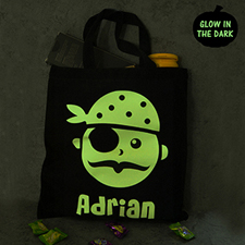 Pirates Glow In The Dark Halloween Tote Treat Bag Black