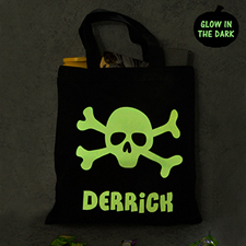 Skull Personalized Glow In The Dark Halloween Tote Treat Bag Black