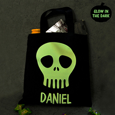 Skull Mask Personalized Glow In The Dark Halloween Tote Treat Bag Black