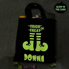 Trick Or Treat Glow In The Dark Halloween Tote Treat Bag Black