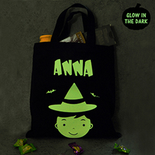 Boy Personalized Glow In The Dark Halloween Tote Treat Bag Black