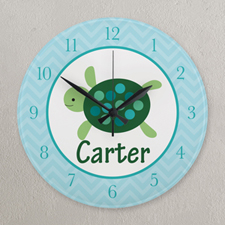 Aqua and Green Elephant Personalized Clock, Round 10.75""