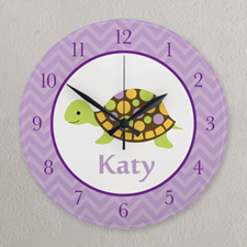Purple Turtle Personalized Clock, Round 10.75