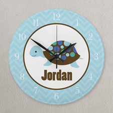 Blue Turtle Personalized Clock, Round 10.75