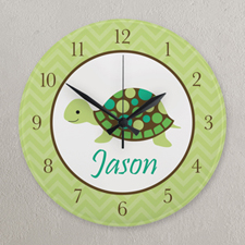 Green Turtle Personalized Clock, Round 10.75""