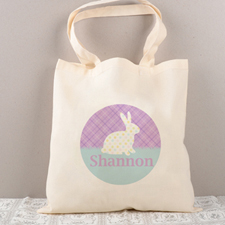 Easter Polka Bunny Personalized Tote For Kids