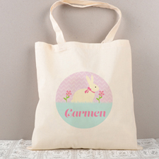 Easter Bunny Flower Personalized Tote For Kids
