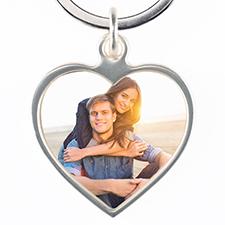 Custom Photo Metal Heart Keychain