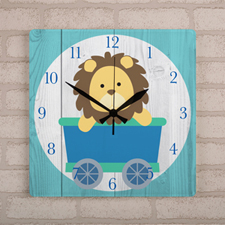 Lion On Train Personalized Wall Clock, Square 10.75