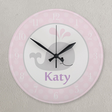 Pink and Grey Whale Personalized Clock, Round 10.75""