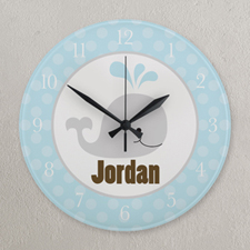 Blue and Grey Whale Personalized Clock, Round 10.75""