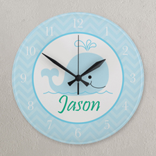 Blue and White Chevron Whale Personalized Clock, Round 10.75""