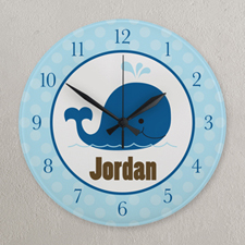 Navy and Blue Dot Whale Personalized Clock, Round 10.75""