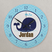 Navy and Blue Chevron Elephant Personalized Clock, Round 10.75""