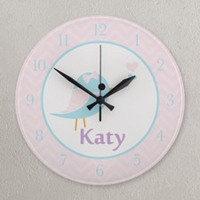 Blue and Pink Little Bird Personalized Clock, Round 10.75""