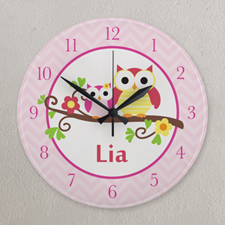 Pink Chevron Owl Personalized Clock, Round 10.75