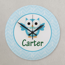 Blue Chevron Owl Personalized Clock, Round 10.75""
