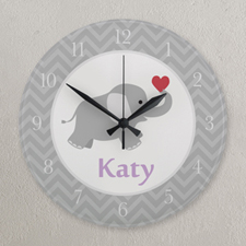 Grey And White Chevron Elephant Personalized Clock, Round 10.75