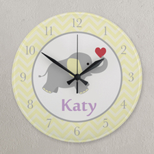 Yellow and White Chevron Elephant Personalized Clock, Round 10.75""