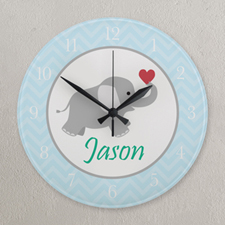 Blue and Grey Chevron Elephant Personalized Clock, Round 10.75""