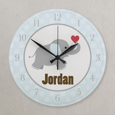 Blue And Grey Elephant Personalized Clock, Round 10.75
