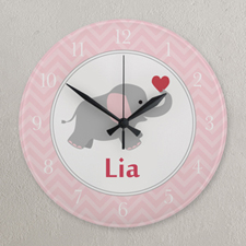 Pink and White Elephant Personalized Clock, Round 10.75""