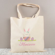 Easter Bunny Egg Personalized Tote For Girls
