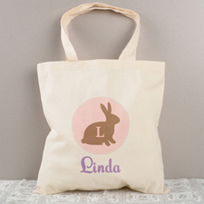 Pink Easter Bunny Personalized Tote