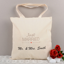 Just Married Personalized Cotton Tote Bag