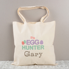 Big Egg Hunter Personalized Easter Tote Bag