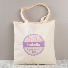 Lavender Bunny Ears Personalized Easter Tote For Kids
