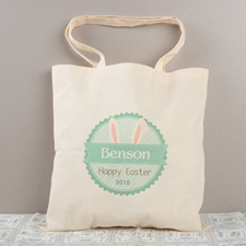 Green Bunny Ears Personalized Easter Tote For Kids
