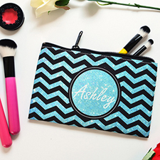 Teal Glitter And Black Chevron Personalized Cosmetic Bag, Medium