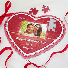 Glowing Love Personalized Heart Shape Photo Puzzle