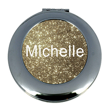 Gold Glitter Personalized Mirror For Bridesmaids, Round