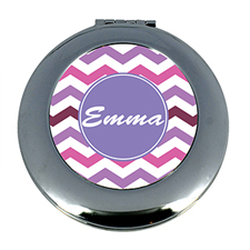 Purple Chevron Personalized Mirror For Bridesmaids, Round