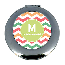 Multi Chevron Personalized Mirror For Bridesmaids, Round