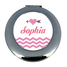 Heart & Arrow Chevron Personalized Mirror For Bridesmaids, Round