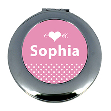Heart & Arrow Dot Personalized Mirror For Bridesmaids, Round