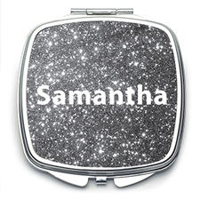 Silver Glitter Personalized Mirror For Bridesmaids, Square