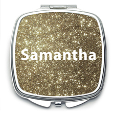 Gold Glitter Personalized Mirror For Bridesmaids, Square