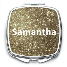 Gold Glitter Personalized Mirror For Bridesmaids, Square