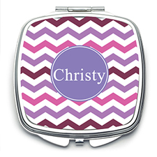 Purple Chevron Personalized Mirror For Bridesmaids, Square