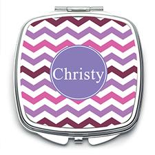 Purple Chevron Personalized Mirror For Bridesmaids, Square